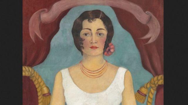 """""""Retrato de una mujer de blanco"""" de Frida Kahlo."""