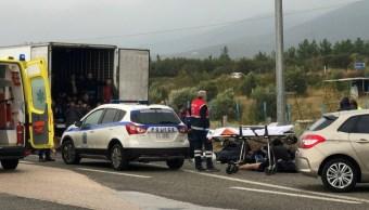 Foto: El conductor del camión, un hombre georgiano, fue detenido después de que la Policía encontró a los 41 migrantes metidos dentro del contenedor para transportar productos congelados, 4 de noviembre de 2019 (Reuters)