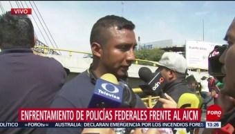 FOTO: Policías Federales Retroceden Durante Protesta AICM