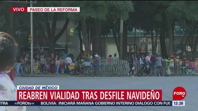 FOTO: Reabren vialidades tras Desfile Navideño Paseo Reforma,