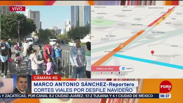 FOTO: Realizan cortes viales sobre Paseo Reforma por desfile navideño