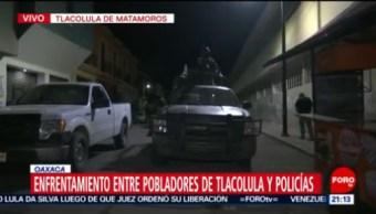 FOTO: Registran enfrentamiento entre pobladores y policías en Oaxaca, 9 noviembre 2019