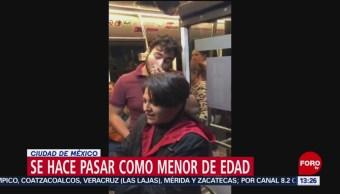 FOTO: Se hace pasar por menor de edad y se sube a zona de mujeres en el Metrobús, 17 noviembre 2019