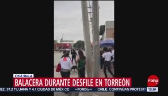 FOTO: Se registra balacera en desfile de la Revolución Mexicana en Torreón, 17 noviembre 2019