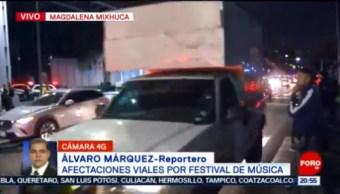 FOTO: Se registran afectaciones viales por festival de música en la Magdalena Mixhuca, 16 noviembre 2019