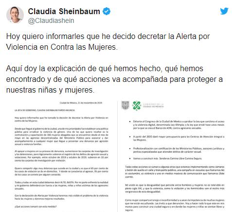 IMAGEN Claudia Sheinbaum decreta alerta de violencia contra mujeres en la CDMX (Twitter)