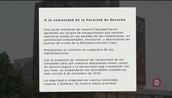 Foto: Suspenden Clases Facultad Derecho Unam 7 Noviembre 2019