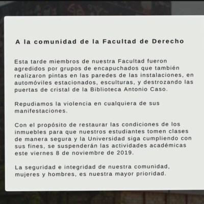 Suspenden clases en Facultad de Derecho de la UNAM