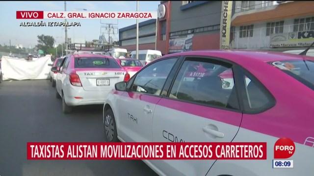 Taxistas alistan movilizaciones en accesos carreteros en la CDMX