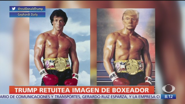 Trump tuitea imagen como boxeador