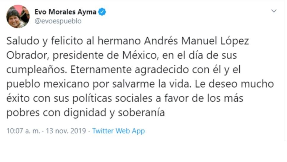 Foto: Evo Morales felicita a AMLO por su cumpleaños