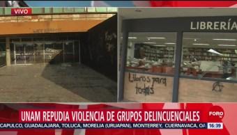 FOTO: UNAM condena destrozos Rectoría,