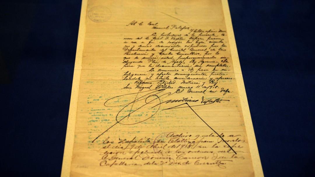 UNAM exhibe carta manuscrita de Emiliano Zapata