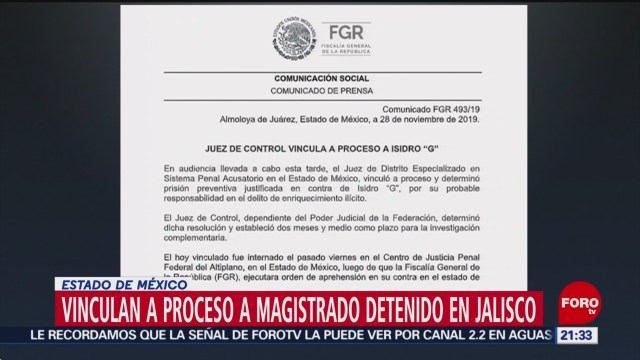 Foto: Vinculan Proceso Magistrado Ligado Cjngv 28 Noviembre 2019