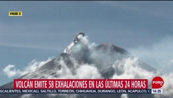 FOTO: Volcán Popocatépetl emite 58 exhalaciones últimas 24 horas