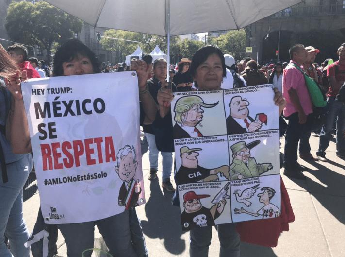 Miles celebran en el Zócalo el primer año de gobierno de AMLO. (Jacinto Torres, Noticieros Televisa)