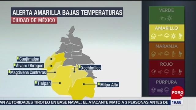 activan alerta amarilla por bajas temperaturas en la cdmx