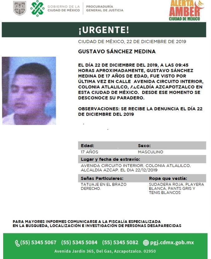 FOTO:Activan Alerta Amber para localizar a Gustavo Sánchez Medina, el 23 de diciembre de 2019