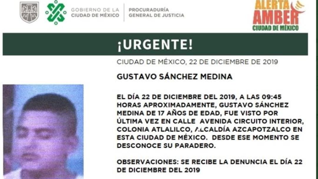 FOTO: Activan Alerta Amber para localizar a Gustavo Sánchez Medina, el 23 de diciembre de 2019