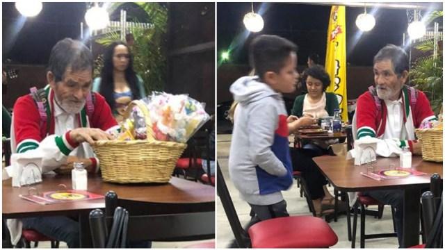 Niño regala tacos a un abuelito y rompe en llanto al verlo comer