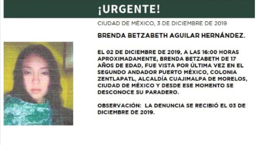 Activan Alerta Amber para localizar a Brenda Betzabeth Aguilar Hernández (Twitter/@PGJDF_CDMX)
