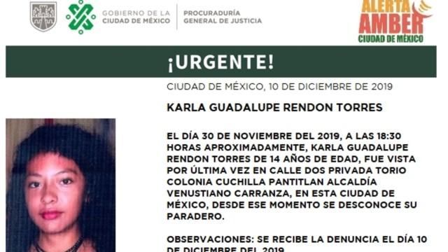 IMAGEN: Activan Alerta Amber para lo calizar a Karen Guadalupe Rendon Torres, el 11 de diciembre de 2019