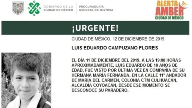 IMAGEN Alerta Amber por Luis Eduardo Campuzano (PGJCDMX)