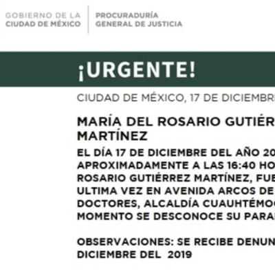 Activan Alerta Amber para localizar a María del Rosario Gutiérrez Martínez