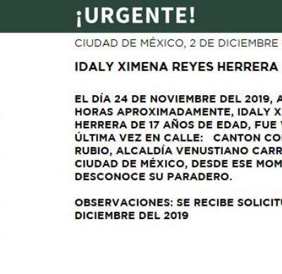 Activan Alerta Amber para localizar a Idaly Ximena Reyes Herrera