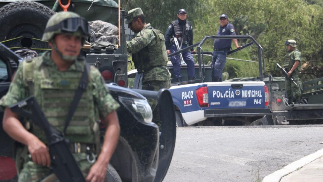 Foto: Militares y policías municipales mantienen un operativo en Puebla, 26 julio 2019
