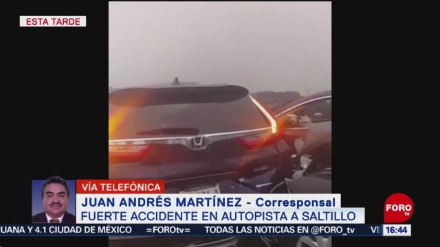 FOTO: 31 diciembre 2019, carambola paraliza la autopista saltillo monterrey