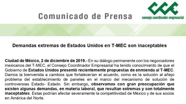 Imagen: El comunicado de Prensa que emitió el CCE, menciona que existen algunas demandas en materia laboral que resultan extremas y son totalmente inaceptables, el 03 de diembre de 2019.