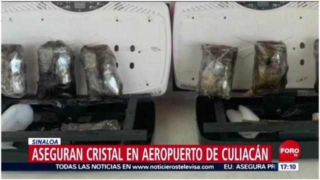 Foto: Decomisan cristal en el Aeropuerto de Culiacán, 7 de diciembre de 2019 (Foro TV)