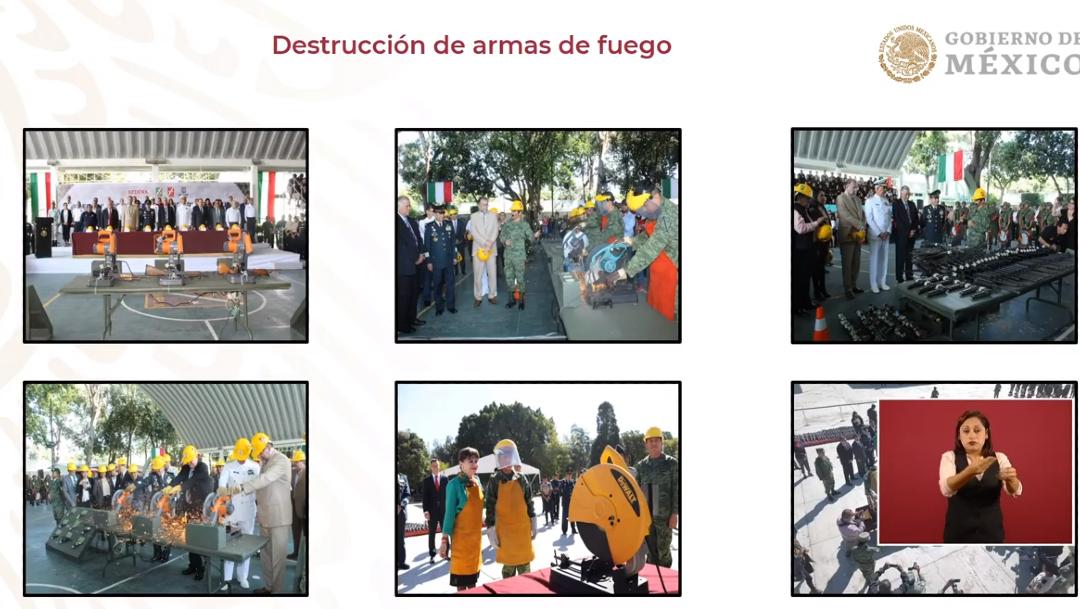 FOTO Destrucción de armas decomisadas durante el gobierno de AMLO (YouTube)