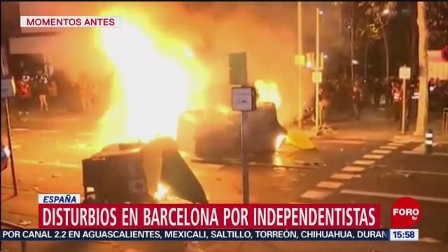 FOTO: disturbios afuera del estadio camp nou en espana dejan 21 heridos