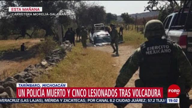 FOTO: Fallece un policía tras volcadura en Tarímbaro, Michoacán, 15 diciembre 2019