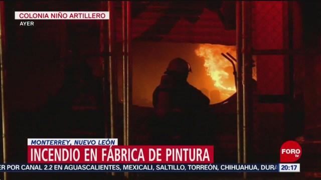 Se registra fuerte incendio en fábrica de Monterrey