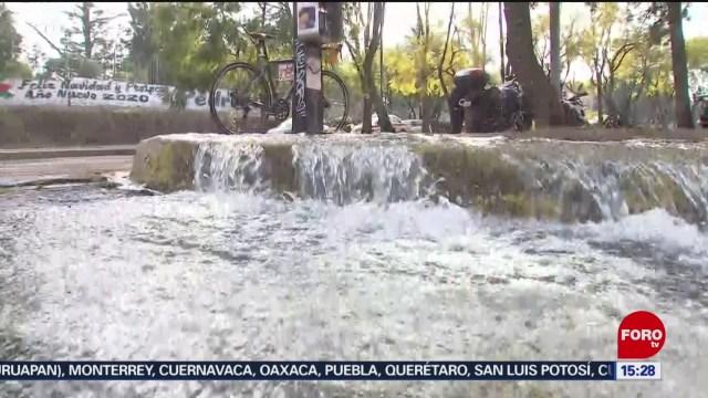 se registra gran fuga de agua en fuentes brotantes tlalpan