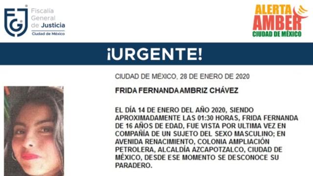 FOTO: Activan Alerta Amber para localizar a Frida Fernanda Ambriz Chávez