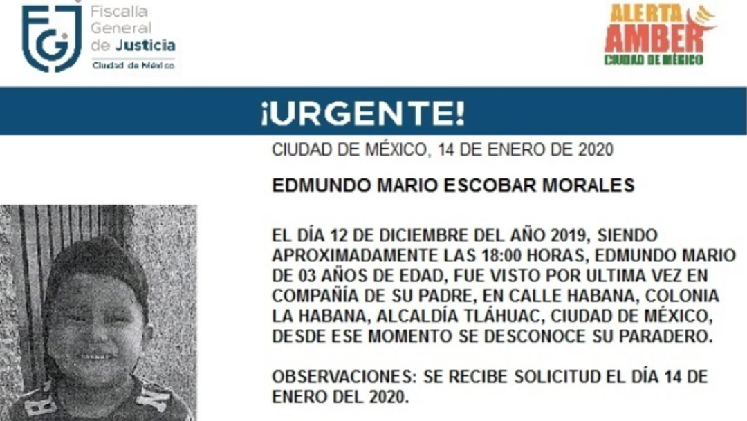 FOTO: Activan Alerta Amber para localizar a Edmundo Mario Escobar Morales, el 15 de enero de 2020