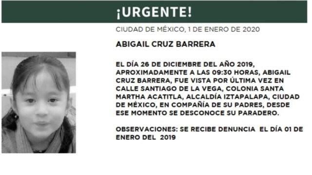 IMAGEN Se activa Alerta Amber por Abigail Cruz Barrera, de 6 años (PGJCDMX)