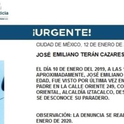 Activan Alerta Amber para localizar a José Emiliano Terán Cazares
