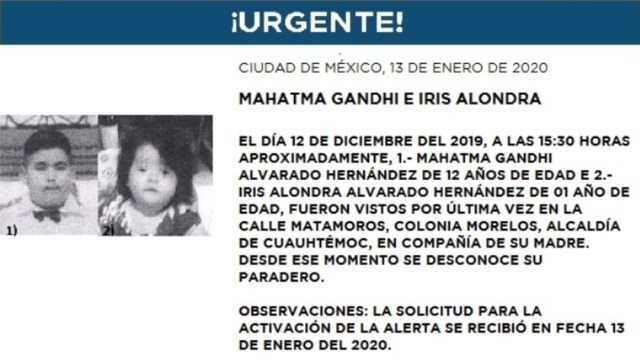 IMAGEN Alerta Amber por Mahatma Gandhi e Iris Alondra Alvarado Hernández (Fiscalía CDMX)