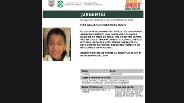 Foto: Activan Alerta Amber para localizar a Max Alejandro Blancas Rubio