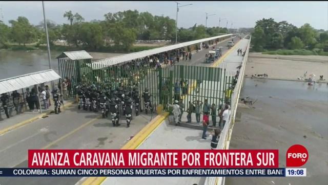 FOTO: 18 enero 2020, avanza caravana migrante por frontera sur