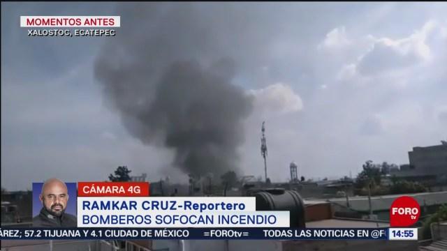 FOTO: bomberos sofocan incendio en bodega de ecatepec