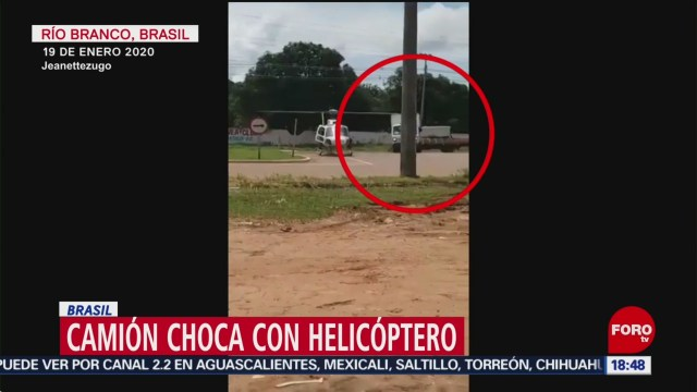 FOTO: camion choca contra helicoptero en brasil