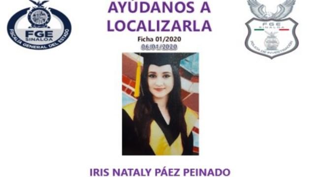 FOTO En Culiacán buscan a Iris Nataly Páez, secuestrada por su exnovio (Fiscalía Sinaloa)