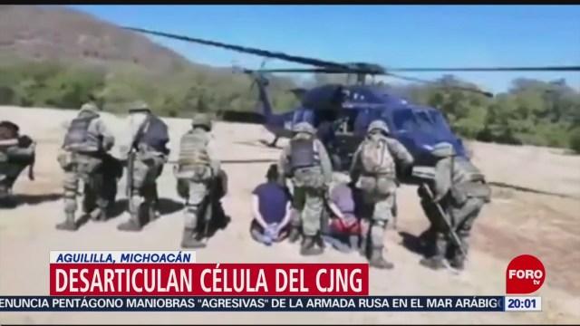 FOTO: 11 enero 2020, desarticulan en michoacan banda perteneciente al cartel jalisco nueva generacion