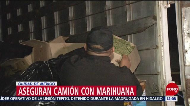 detienen a 5 que descargaban marihuana de un camion en calles de la cdmx